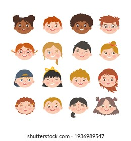 Smiling children faces with different hair and skin color. Multiethnic children collection. Isolated vector illustration.