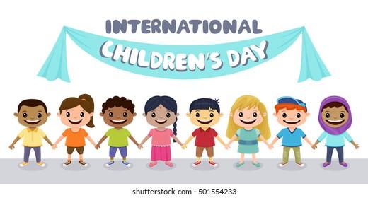Smiling children holding hands. Children's Day background.