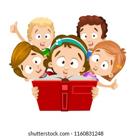 Smiling children are reading book with interes. Girl with green ribbon in her hair holds with hands unfolded book in red cover, and behind her kids gladly raise their thumbs up. Vector illustration