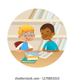 Smiling children reading books and talking to each other at school library. School kids discussing literature in round frames. Cartoon vector illustration for banner, poster.