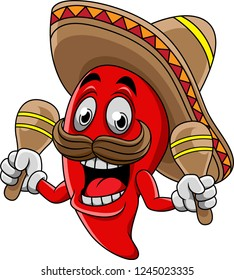 Smiling Chili Pepper with Maracas