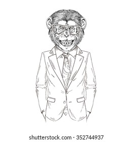 smiling chimpanzee dressed up in business suit, business monkey,  furry art illustration