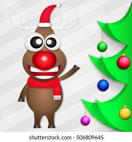 Smiling Christmas deer holiday gifts fun illustrations.