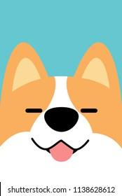 Smiling corgi dog face flat design, vector illustration