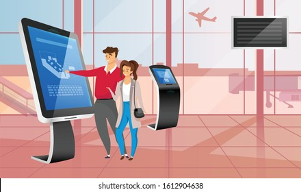 Smiling couple with airport self service kiosk flat color vector illustration. Tourists faceless cartoon characters during airline check in. People using interactive touchscreen panel