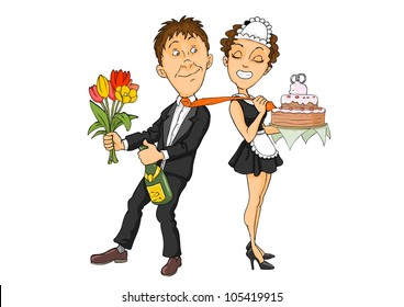 Smiling couple with flowers, champagne and cake