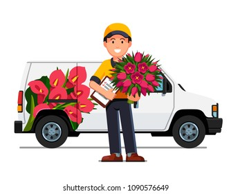 Smiling courier boy holding flowers bouquet & order check list paperclip. Delivery man truck with advertising design. Flowers delivery service. Flat vector illustration isolated on white background