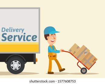 Smiling courier delivers parcels to customer on hand truck, trolley. Truck with text - Delivery service. Business vector illustration, flat design cartoon style. Isolated background.