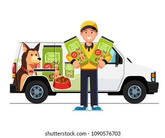 Smiling courier man delivering dog food & holding kibble bags. Delivery boy truck with advertising design. Dog food delivery service. Flat vector illustration isolated on white background