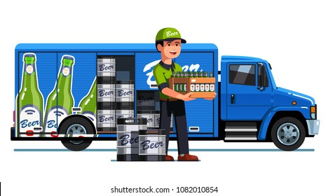 Smiling courier man holding wooden crate of beer and kegs. Branded delivery truck with advertising design. Brewery company delivering beer. Flat vector illustration isolated on white background