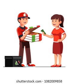Smiling courier man showing delicious takeaway pizza in cardboard box to client. Woman paying cash money to delivery boy. Pizza delivery service. Flat vector illustration isolated on white background