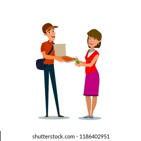 Smiling courier man showing delicious takeaway pizza in cardboard box to client. Woman paying cash money to delivery boy. Pizza delivery service. Vector illustration of a flat design.