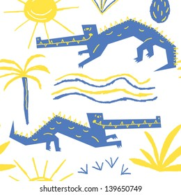 smiling crocodiles basking in the sun vector seamless background