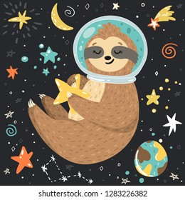 Smiling cute baby sloth astronaut holding star and flying in the open space among stars, moon, planets. Adorable animal illustration in the childish style. Vector cartoon funny sloth in a helmet