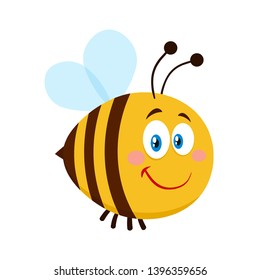 Smiling Cute Bee Cartoon Character. Vector Illustration Flat Isolated On Transparent Background