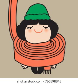 Smiling Cute Girl Showing The Best Way To Tie A Long Scarf Around The Neck To Keep Warm In Winter Concept Card Character illustration