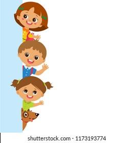 Smiling Cute Kids Behind Vertical Banner Vector. Group Of Children Vector. School Kids With Blank Banner.