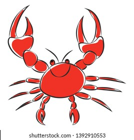 A smiling cute little red cartoon crab with two sharp pincers  walking legs  two antennae  and two eyes is extremely happy  vector  color drawing or illustration