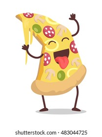 Smiling and dancing slice of pizza vector. Flat design. Funny cartoon of fast food dish. For restaurant menu illustrating, food concepts, diet infographics. Tasty classic snack. On white background