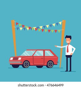 Smiling dealer offers to buy the car. Sale of new and second-hand vehicles. Happy man in a shirt and tie. Vector flat image isolated on a blue background.