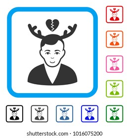 Smiling Deceived Horned Husband vector icon. Human face has cheerful emotions. Black, grey, green, blue, red, orange color versions of deceived horned husband symbol in a rounded frame.