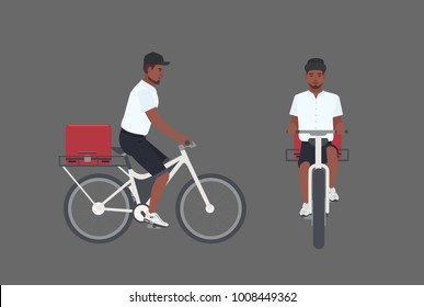 Smiling delivery man riding bicycle. Male cyclist delivering parcel. Courier boy in cap pedal modern bike isolated on white background. Front and side views. Vector illustration in flat cartoon style.