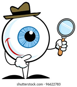 Smiling Detective Eyeball Holding A Magnifying Glass. Jpeg version also available in gallery.