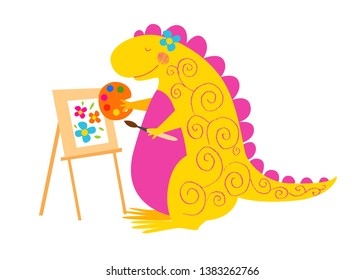 A smiling dinosaur paints a picture. Cute animal. Dino painter.  Vector background. Isolated hand drawn illustration. Funny character for kids. Pencil texture.