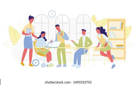 Smiling Disabled Girl in Wheelchair and School Friends Sitting around Table, Working on Laptop and Talking to Each Other Flat Cartoon Vector Illustration. Concept Inclusive Education.