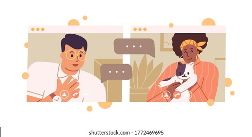 Smiling diverse couple talking on videoconference vector flat illustration. Black skin woman cat lover and happy guy having web communication isolated on white. Online meeting or dating