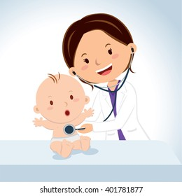 Smiling doctor examining baby boy. Pediatric doctor examine baby boy with the stethoscope.