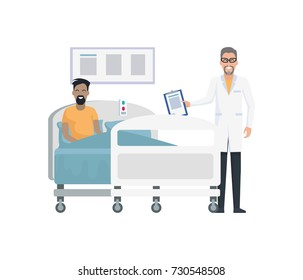 Smiling doctor and lying patient, professional on check-up, telling results of operation, picture on vector illustration isolated on white