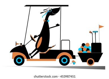 Smiling dog is going to play golf in the golf cart