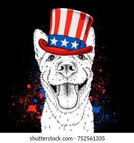 A smiling dog  in old American hat with a flag. National Symbols of the USA. Vector illustration