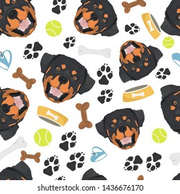 Smiling Dog Rottweiler with dog stuff