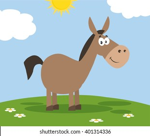 Smiling Donkey Cartoon Character. Vector Illustration Flat Design Style With Background