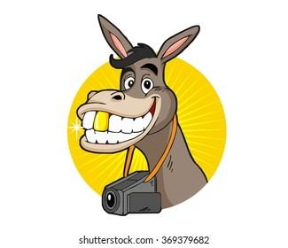 smiling donkey face fun happy mascot cartoon character vector