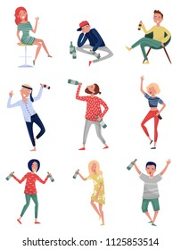 Smiling drunk people set, happy men and women with bottle of alcohol drink in their hands vector Illustrations on a white background