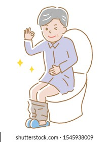 smiling elderly man sitting on toilet seat. Health care concept