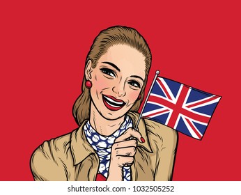 Smiling Elegant British Woman holding British UK flag on a red background. Cartoon pretty lady in comic style for the site, poster. United Kingdom colors. Vector illustration.