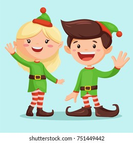Smiling santaâ??s elf girl and elf boy. Cute Christmas cartoon character for background. Elfs waving their hands