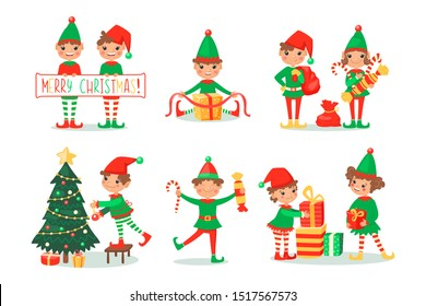 Smiling elves packing gifts. Decorating Christmas tree for celebration. Happy children in New Year fairy costumes with candies and lollipop presents. Cute characters. Vector illustration, cartoon flat