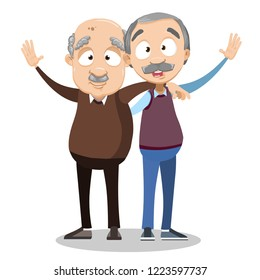 Smiling embraced elderly men cartoon personages. Funny bald and grey haired old friends characters. Friendly senior men with mustaches. Happy pension lifestyle and friendship vector illustration.