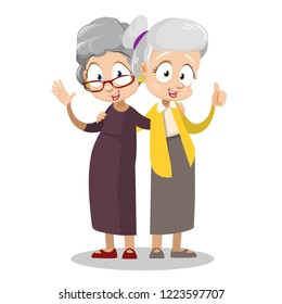 Smiling embraced elderly women cartoon personages. Funny grannies old friends characters. Friendly senior men with mustaches. Happy pension lifestyle and friendship vector illustration.