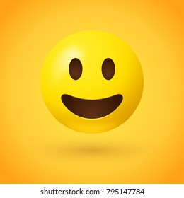 Smiling emoji - happy emoticon on yellow background