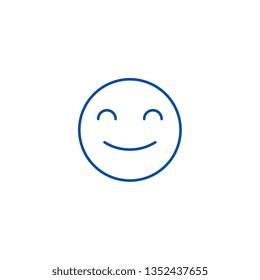 Smiling emoji line icon concept. Smiling emoji flat  vector symbol, sign, outline illustration.