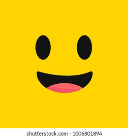 smiling emoji with open mouth.Smiley. Vector happy face.
