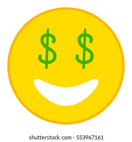 Smiling emoticon with Dollar eyes in trendy flat style. Money eyes emoji vector illustration.
