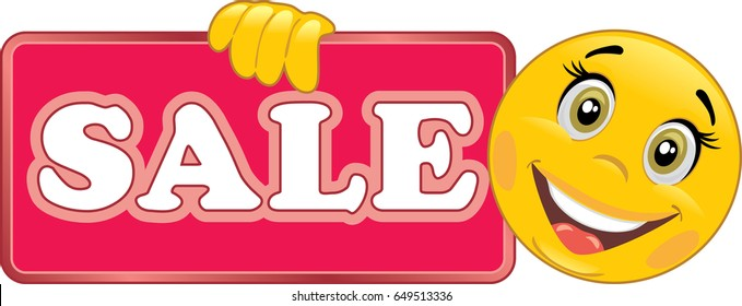 Smiling emoticon holds a Sale sign. Vector
