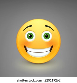 Smiling emoticon isolated on a gray background. Vector illustration.